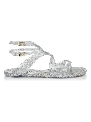 Jimmy Choo LANCE JELLY Silver Glitter Rubber Jelly Sandals