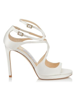 42c752fad4c1 Jimmy Choo Talia 100 Ivory Satin And White Lace Sandals in White ...
