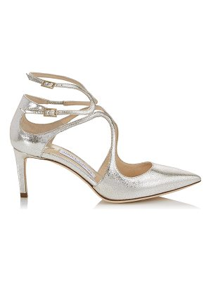 Jimmy Choo LANCER 65 Champagne Glitter Leather Pointy Toe Pumps