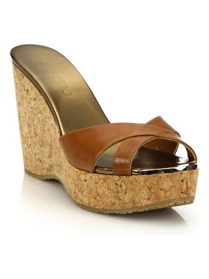 Jimmy Choo leather & cork platform wedge sandals