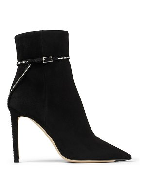 Jimmy Choo LEILLE 100 Black Suede Ankle Boots with Crystal Trim