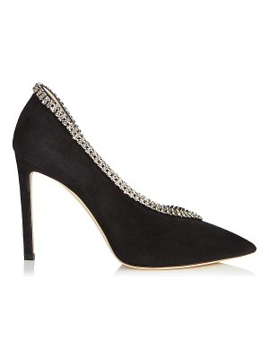 Jimmy Choo LILIAN 100 Black Suede Pointy Toe Pumps with Crystal Trim