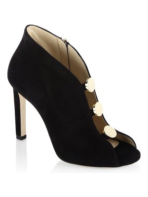 Jimmy Choo Lorna 100 Suede Peep Toe Booties