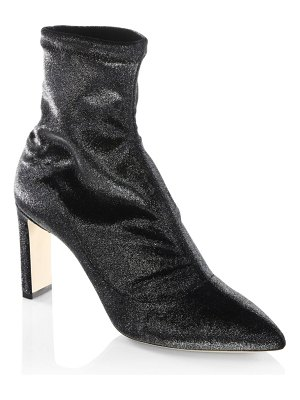 Jimmy Choo Louella 85 Stretch Metallic Velvet Point Toe Booties