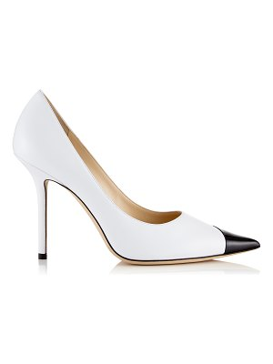 Jimmy Choo LOVE 100 Black and White Asymmetric Patent Nappa Leather Pointy Toe Pump