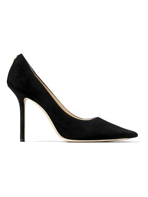 Jimmy Choo LOVE 100 Black Suede Pointy Toe Pumps with Button