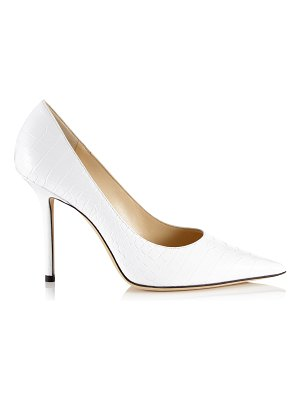 Jimmy Choo LOVE 100 Latte Croc Embossed Leather Point-Toe Pumps