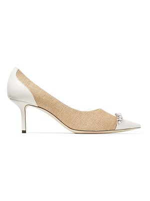 Jimmy Choo LOVE 65 Natural and Latte Raffia and Nappa Leather Pumps with Crystals and Pearls