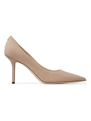 Jimmy Choo LOVE 85 Ballet Pink Suede Pointy Toe Pumps with Button