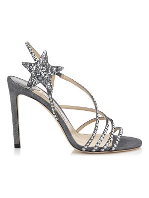 Jimmy Choo LYNN 100 Anthracite Shimmer Suede Sandals with Hotfix Crystals