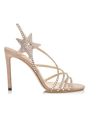 Jimmy Choo LYNN 100 Ballet Pink Suede Sandals with Hotfix Crystals