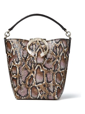 Jimmy Choo MADELINE BUCKET Blush Mix Glossy Printed Elaphe Bucket Bag with Metal Stone Buckle