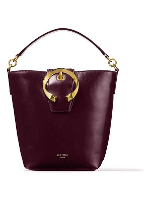 Jimmy Choo MADELINE BUCKET Bordeaux Calf Leather Bucket Bag with Metal Buckle