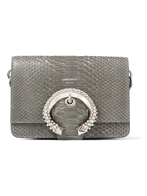 Jimmy Choo MADELINE SHOULDER Dusk Snakeskin Shoulder Bag with Crystal Buckle