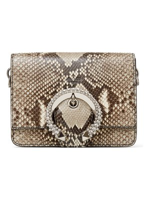 Jimmy Choo MADELINE SHOULDER BAG Natural Python Shoulder Bag with Crystal Buckle