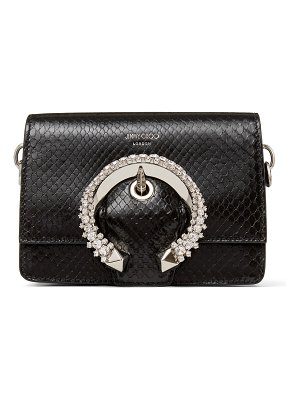 Jimmy Choo MADELINE SHOULDER BAG/S Black Shiny Python Shoulder Bag with Crystal Buckle