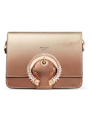 Jimmy Choo MADELINE SHOULDER Gold Snakeskin Shoulder Bag with Crystal Buckle