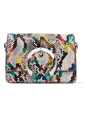 Jimmy Choo MADELINE SHOULDER/S Multicolour Glossy Rainbow Elaphe Shoulder Bag with Metal Stone Buckle