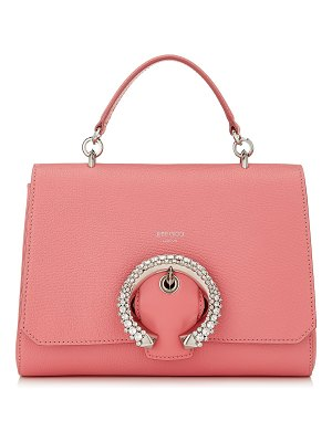 Jimmy Choo MADELINE TOP HANDLE Candyfloss Calf Leather Top Handle Bag with Crystal Buckle