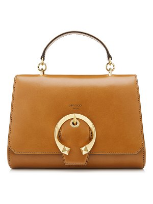 Jimmy Choo MADELINE TOP HANDLE Cuoio Calf Leather Top Handle Bag with Metal Buckle