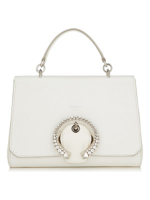 Jimmy Choo MADELINE TOP HANDLE Latte Calf Leather Top Handle Bag with Crystal Buckle