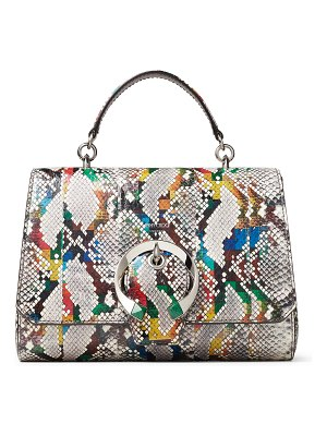 Jimmy Choo MADELINE TOP HANDLE Multicolour Glossy Rainbow Elaphe Top Handle Bag with Metal Stone Buckle