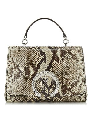 Jimmy Choo MADELINE TOP HANDLE Natural Python Top Handle Bag with Crystal Buckle
