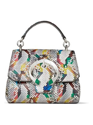 Jimmy Choo MADELINE TOP HANDLE/S Multicolour Glossy Rainbow Elaphe Top Handle Bag with Metal Stone Buckle