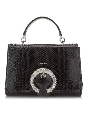 Jimmy Choo MADELINE TOP HANDLE Black Shiny Python Top Handle Bag with Crystal Buckle