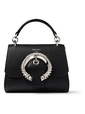 Jimmy Choo MADELINE TOPHANDLE/S Black Goat Calf Leather Top Handle Bag with Crystal Buckle