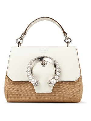 Jimmy Choo MADELINE TOP HANDLE/S Natural and Latte Smooth Calf Leather and Raffia Top Handle Bag