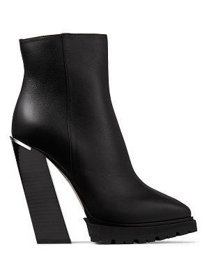 Jimmy Choo MADRA 130 Black Smooth Leather Platform Ankle Boots