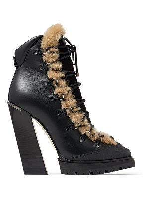 Jimmy Choo MADYN 130 Black Leather and Suede Lace-Up Boots with Natural Shearling
