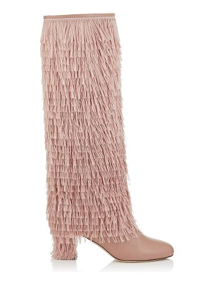 Jimmy Choo MAGALIE 65 Ballet Pink Calf Leather Knee High Booties with Fringe Detailing