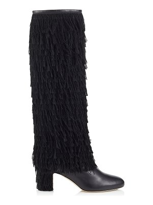 Jimmy Choo MAGALIE 65 Black Calf Leather Knee High Booties with Fringe Detailing
