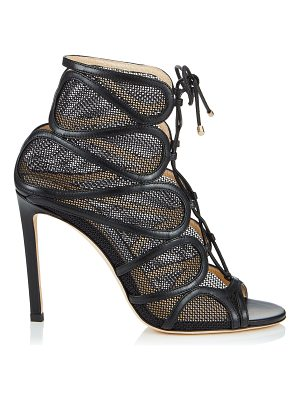 Jimmy Choo MALENA 100 Black Nappa Leather and Techno Raffia Sandals