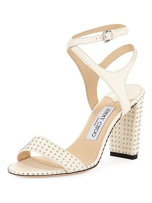 Jimmy Choo Marine Studded Leather Block-Heel Ankle-Strap Sandals