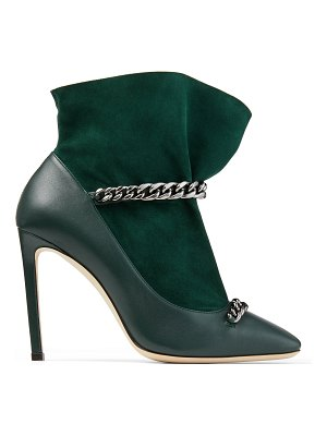 Jimmy Choo MARUXA 100 Dark Green Nappa Leather and Suede Bootie with a Anthracite Chain Strap