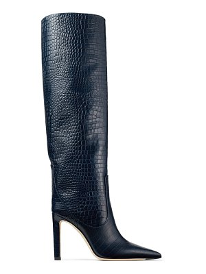 Jimmy Choo MAVIS 100 Navy Croc Embossed Leather Knee High Boots