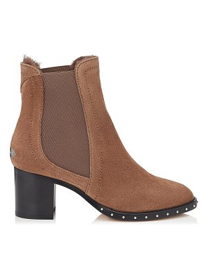 Jimmy Choo MERRIL 65 Minx Suede Ankle Boots with Black Shearling