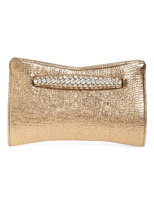 Jimmy Choo metallic leather clutch with crystal bracelet