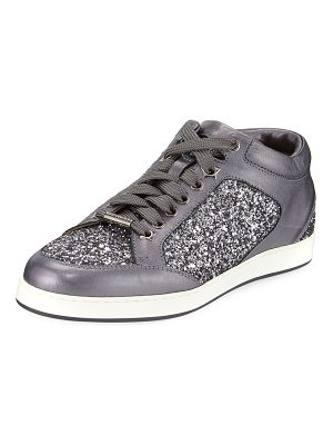Jimmy Choo Miami Leather and Star Glitter Sneakers