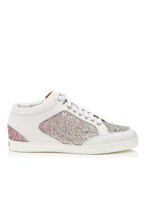 Jimmy Choo MIAMI Platinum and Flamingo Ice Glitter Dégradé Fabric and Leather Sneakers