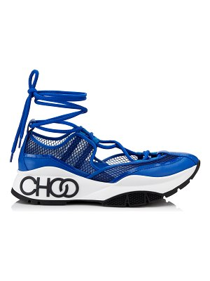 Jimmy Choo MICHIGAN Electric Blue Mesh and Patent Nappa Leather Trainer with Espadrille Straps