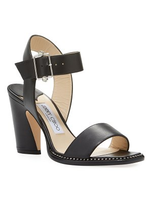 Jimmy Choo Minase Leather Crystal-Trim Sandals