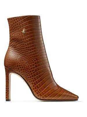 Jimmy Choo MINORI 100 Cuoio Croc Embossed Leather Ankle Boots