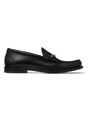 Jimmy Choo MOCCA/F Black Shiny Calf Leather Loafers with Star Chain
