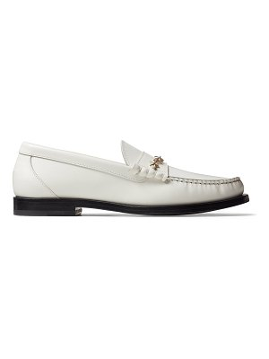 Jimmy Choo MOCCA/F White Shiny Calf Leather Loafers with Star Chain