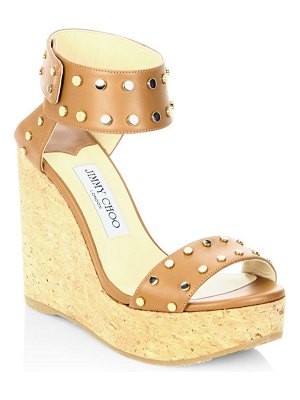 Jimmy Choo Nellie Studded Leather Cork Wedge Sandals