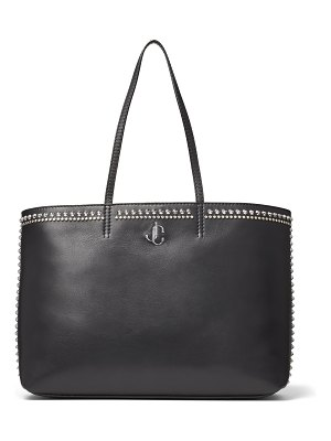 Jimmy Choo NINE2FIVE E/W Black Smooth Calf Leather Tote Bag with Stud Embellishment
